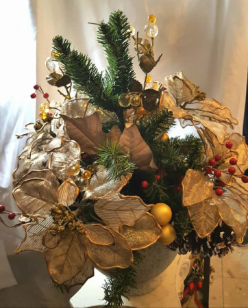 Golden Christmas Centerpiece  Artifical Arrangement Local Delivery Only