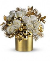 Golden Christmas  Cut Flowers with decorations