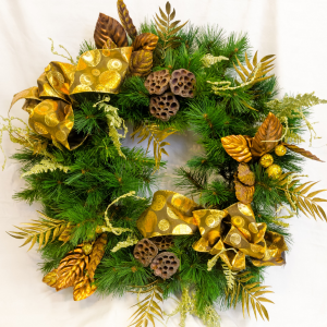 Golden Christmas Silk Floral Wreath in Corner Brook, NL | The Orchid
