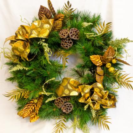 Golden Christmas Silk Floral Wreath