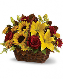 Golden Days Basket Fall Basket Arrangement