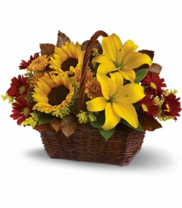 Golden Days Basket Flower Arrangement