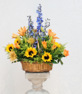 Golden Goodbye Basket Arrangement
