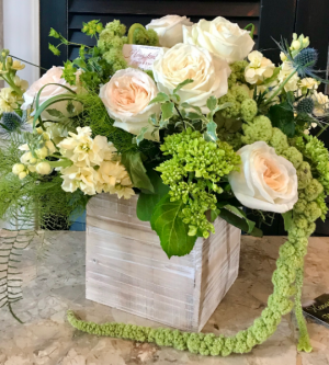 Golden fern box arrangement in Northport, NY | Hengstenberg's Florist