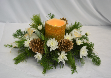 GOLDEN GLOW CENTER PIECE Fresh Arrangement