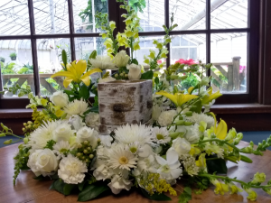 Golden Grace Urn Surround Arrangement (Urn not included) in North Adams, MA | MOUNT WILLIAMS GREENHOUSES INC