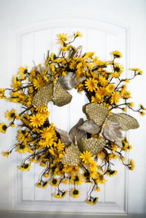 Golden Halo Silk Wreath in Corner Brook, NL | The Orchid