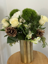 Golden Holiday Arrangement Tall Vase