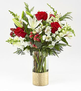 GOLDEN HOLIDAY BOUQUET RED AND WHITE FLOWERS