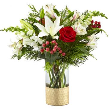 Golden Holiday  Vased Arrangement