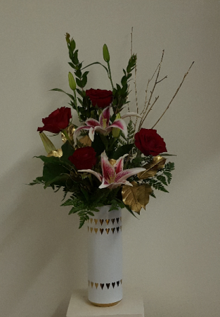 Golden Love Vase Arrangement