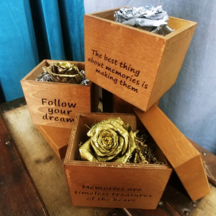 Golden Messages Preserved Flowers