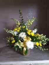 Golden peace Funeral flowers