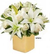 Golden Present Bouquet Flower Arrangement