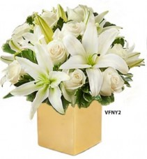 Golden Present Bouquet Flower Arrangement