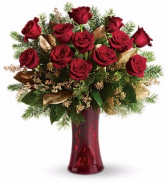 Golden Red Rose Vase Arrangement
