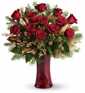 Golden Red Rose Vase Arrangement in Chatham, NJ | SUNNYWOODS FLORIST