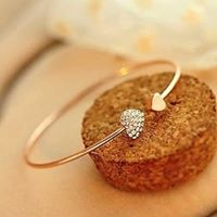Golden Rhinestone Love Heart Bangle Cuff Bracelet  one size