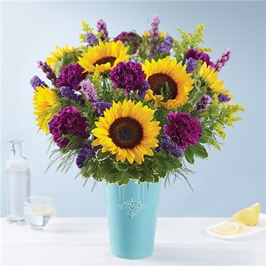 Golden Sunflowers in Rustic Charm Vase Fall Arrangement