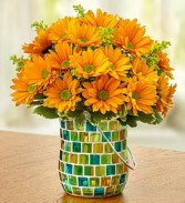 Golden Sunset Keepsake Mosaic Vase with Handle