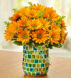 Golden Sunset Keepsake Mosaic Vase with Handle