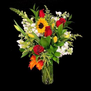 Golden Supreme Tulips, Sunflowers & Roses