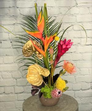 Golden Tropics Flower Arrangement in Summerville, SC   The Tilted Tulip
