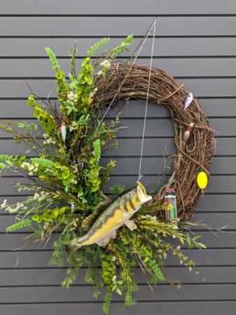 Gone Fishin Silk grapevine wreath