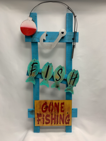 Gone Fishing Wood and Metal Wall Decor
