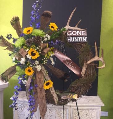 Gone Huntin', Gone Fishin' Standing Wreath