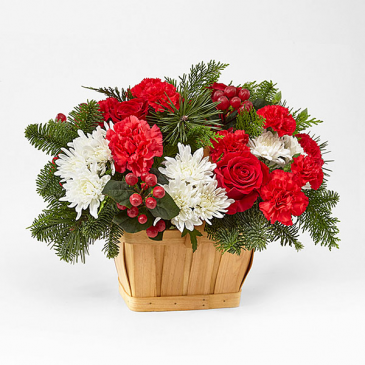 GOOD TIDINGS FLORAL BASKET RED AND WHITE BLOOMS IN BASKET