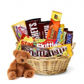 Goodies For Teddy Goodie Basket and Teddy Bear...Teddy Bear May Be Different Color