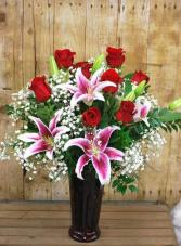 Gorgeous Red Roses & Fragrant Stargazer Lilies