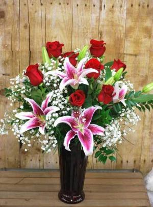 Gorgeous Red Roses & Fragrant Stargazer Lilies  in Seabrook, TX | SEABROOK HOUSE OF FLOWERS
