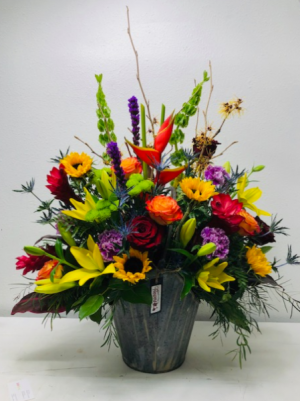 Gorgeous & Grandiose Container Arrangement in North Bend, OR | PETAL TO THE METAL FLOWERS