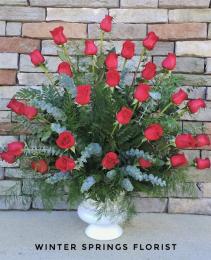 Gorgeous Red Rose  Service Arrangement