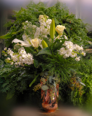 Gorgeous Valentine Arrangement in Gold Vase  in Vincennes, IN | ORGAN FLORIST & GREENHOUSES