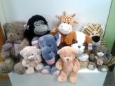 Gorilla, Elephant, Tiger, Puppy, Giraffe Stuffed Animals