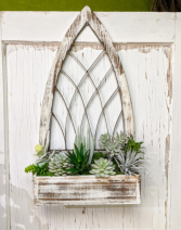 Gothic Window box with Faux Succulents