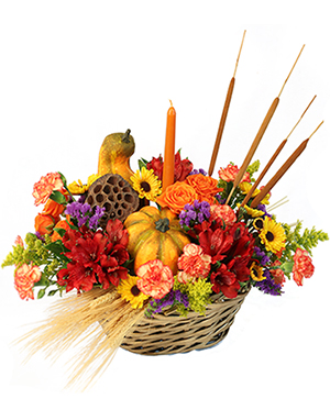 Gourd-eous Blooms Basket Arrangement in Bloomington, IN | MARY M'S WALNUT HOUSE FLOWERS AND GIFTS