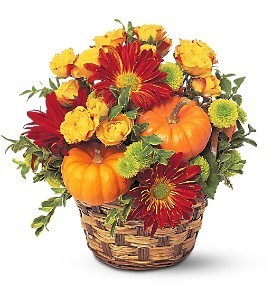 Gourds & Flowers Basket Fall Floral