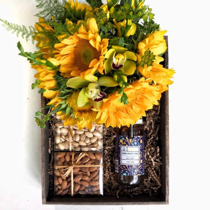 Surprise Gift Crate with Seasonal Florals Next Day
