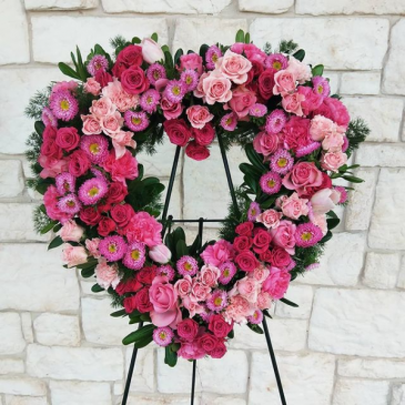 Grace and Love Tribute Open Heart Standing Wreath