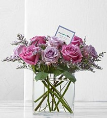 "Graceful Lavender Rose Bouquet by Real Simple   Modern Dozen In  6"" Rectangular Vase"