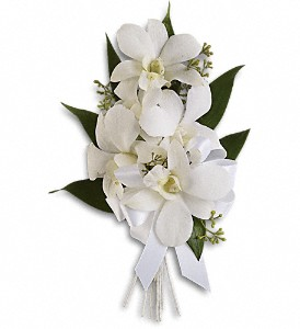 Graceful Orchids Corsage T196-6a  white dendrobium orchids
