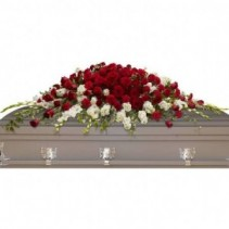 Graceful Red and White Single casket spray