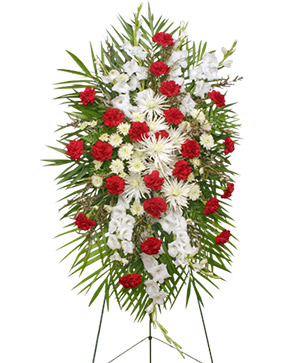 GRACEFUL RED & WHITE Standing Spray of Funeral Flowers in Mount Pleasant, SC | BELVA'S FLOWER SHOP