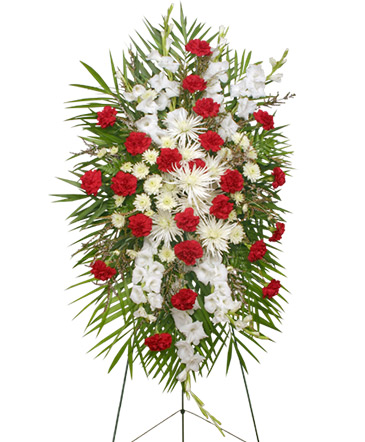 Graceful red white standing spray of funeral flowers in lecanto graceful red white standing spray of funeral flowers mightylinksfo