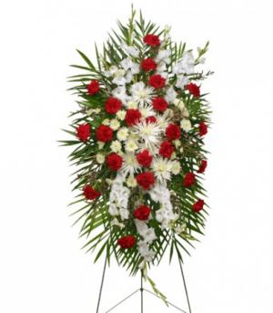 GRACEFUL RED & WHITE Standing Spray of Funeral Flowers in Bryson City, NC | VILLAGE FLORIST & GIFTS