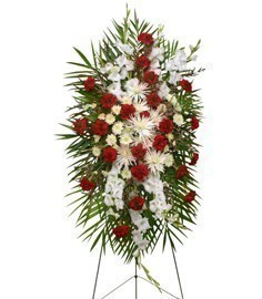 GRACEFUL RED & WHITE Standing Spray of Funeral Flowers